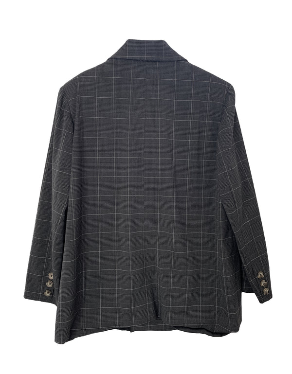 women's double breasted wool blazer black plaid