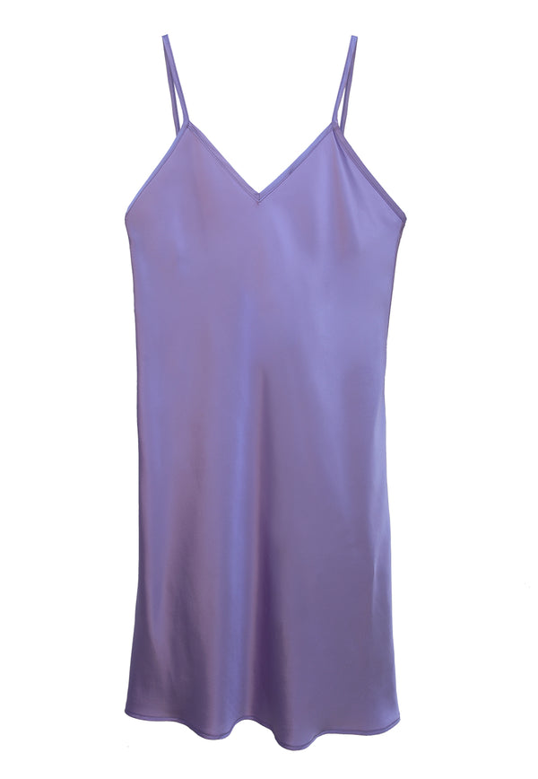 Charmeuse Slip Dress Mini -    Lilac