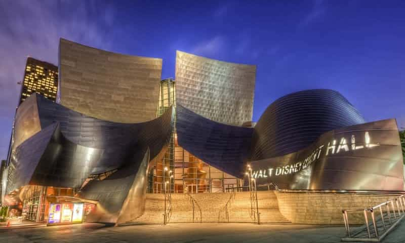 Walt Disney Concert Hall Exterior Night - TLC Luxury Transportation