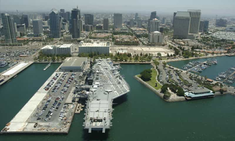 USS Midway with San Diego skyline