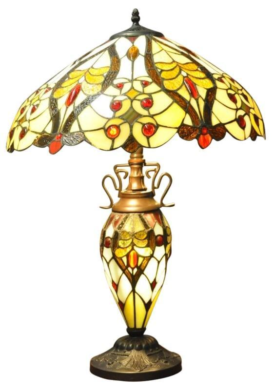 Cream/Red Bullets Double Tiffany Lamp 68cm