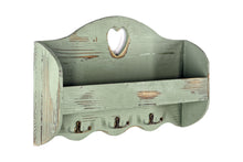 Load image into Gallery viewer, Green Heart Coat Rack With Shelf 50x29x9.5 cm