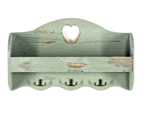 Green Heart Coat Rack With Shelf 50x29x9.5 cm