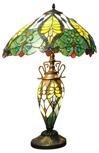 Green & Yellow Double Tiffany Lamp 68cm