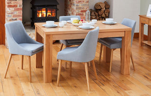 Oak 150cm table with 4 walnut grey chairs