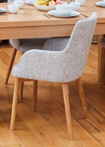Oak 150cm table with 4 walnut light grey chairs