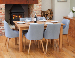 Oak 150cm table with 6 walnut grey chairs