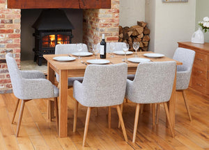 Oak 150cm table with 6 walnut light grey chairs