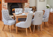 Load image into Gallery viewer, Oak 150cm table with 6 walnut upholstered light grey chairs