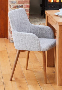 Oak 4 seater with 4 walnut light grey chairs