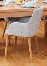 Load image into Gallery viewer, Oak 4 seater with 4 walnut light grey chairs