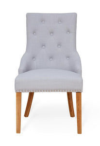 Oak Accent Upholstered Dining Chair - Light Grey (Pack Of Two)