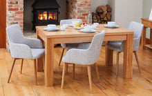 Load image into Gallery viewer, Oak extending table with 4 walnut light grey chairs