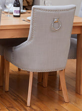 Load image into Gallery viewer, Oak extending table with 6 walnut upholstered light grey chairs