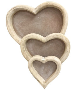 Three Wooden Heart Trays