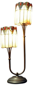 Twin Stem Tiffany Lamp Dark Blue / Red 67cm