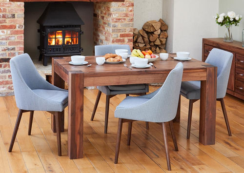 Walnut 150cm table with 4 walnut grey chairs