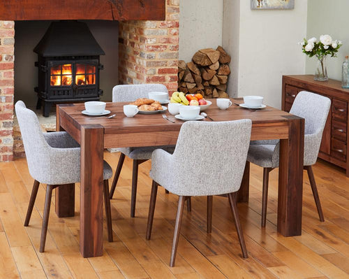 Walnut 150cm table with 4 walnut light grey chairs