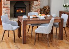 Load image into Gallery viewer, Walnut 150cm table with 4 walnut light grey chairs