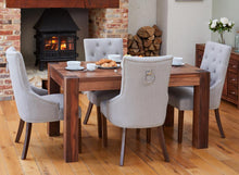 Load image into Gallery viewer, Walnut 150cm table with 4 walnut upholstered light grey chairs