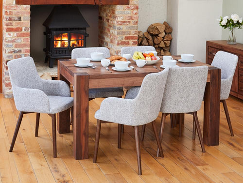 Walnut 150cm table with 6 walnut light grey chairs