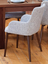 Load image into Gallery viewer, Walnut 150cm table with 6 walnut light grey chairs