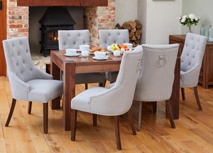 Walnut 150cm table with 6 walnut upholstered light grey chairs