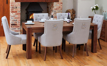 Load image into Gallery viewer, Walnut 150cm table with 6 walnut upholstered light grey chairs
