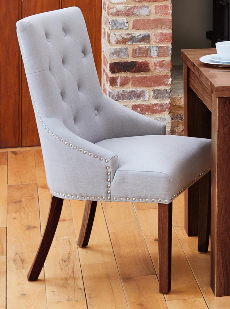 Walnut Accent Upholstered Dining Chair - Light Grey (Pack Of Two)