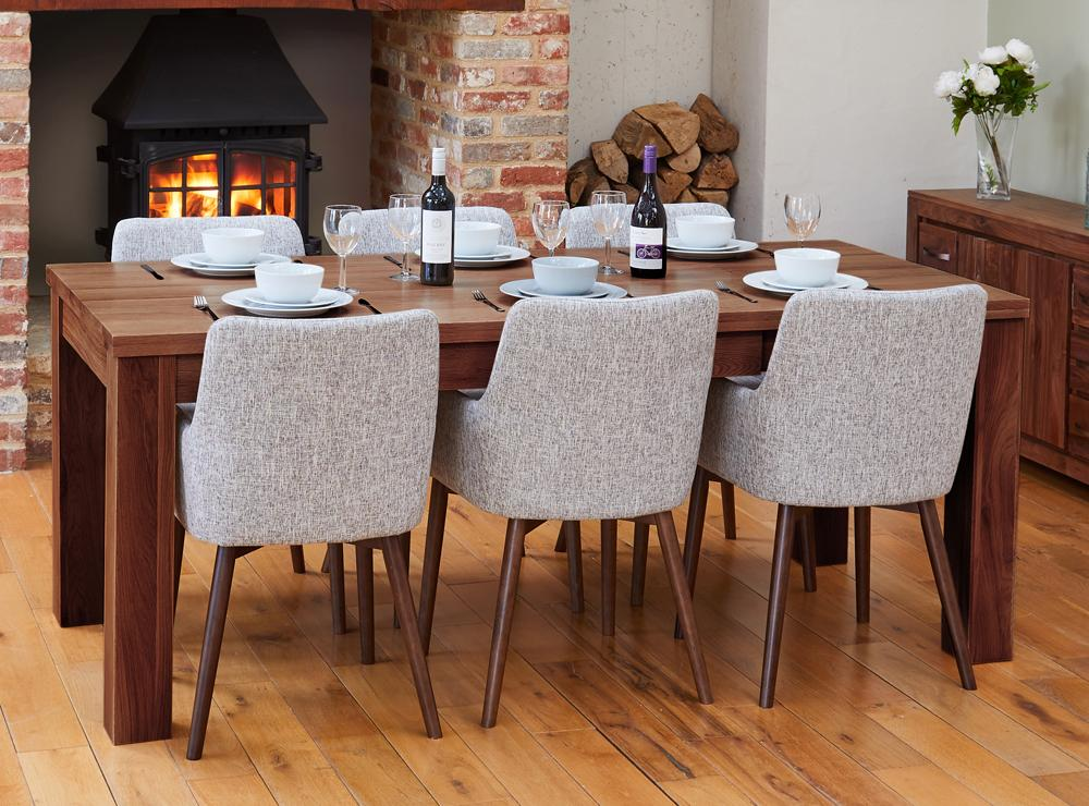 Walnut extending table with 6 walnut light grey chairs