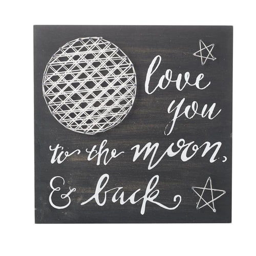 Wooden Moon & Back Wall Sign 29cm