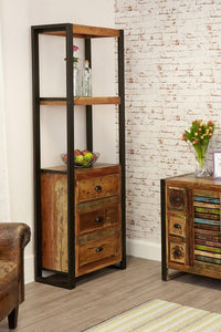 city vibe alcove bookcase with drawers