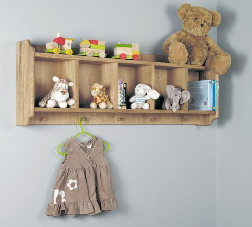 Daisy Oak Wall Shelf with Hanging Pegs
