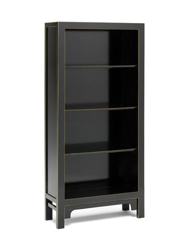 Dynasty Black and Gilt Large Bookcase