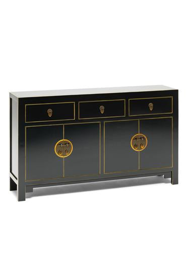 Dynasty Black and Gilt Large Sideboard