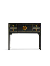 Load image into Gallery viewer, dynasty black and gilt small console table