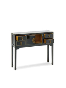 dynasty black and gilt small console table