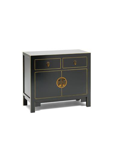 Dynasty Black and Gilt Small Sideboard
