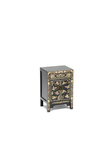Dynasty Oriental Decorated Black Small Cabinet