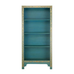 dynasty oriental decorated blue bookcase