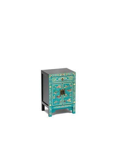 Dynasty Oriental Decorated Blue Small Cabinet