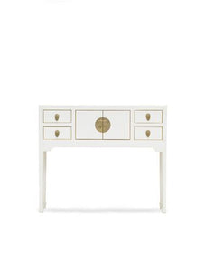 dynasty white console table