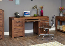 Load image into Gallery viewer, jupiter walnut twin pedestal computer desk