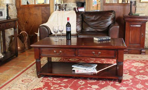 majestic mahogany coffee table with drawers