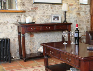 majestic mahogany console hall table with drawers