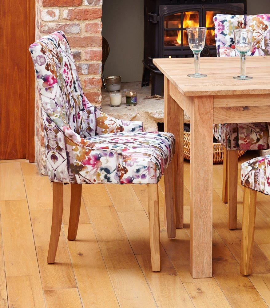Oak Accent Upholstered Dining Chair - Bouquet (Pack of Two)