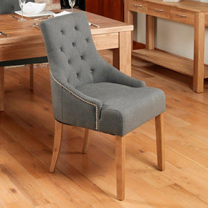oak accent upholstered dining chair stone pack of two