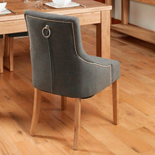 Load image into Gallery viewer, oak accent upholstered dining chair stone pack of two