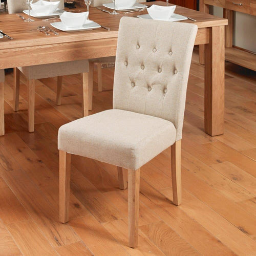 Oak Flare Back Upholstered Dining Chair - Coconut (Pack of Two)