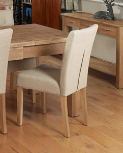 oak flare back upholstered dining chair coconut pack of two